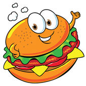 Happy hamburger — Stock Vector