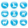 Royalty-Free Stock Vector Image: Wild animals button set