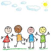 Niños doodle — Vector de stock