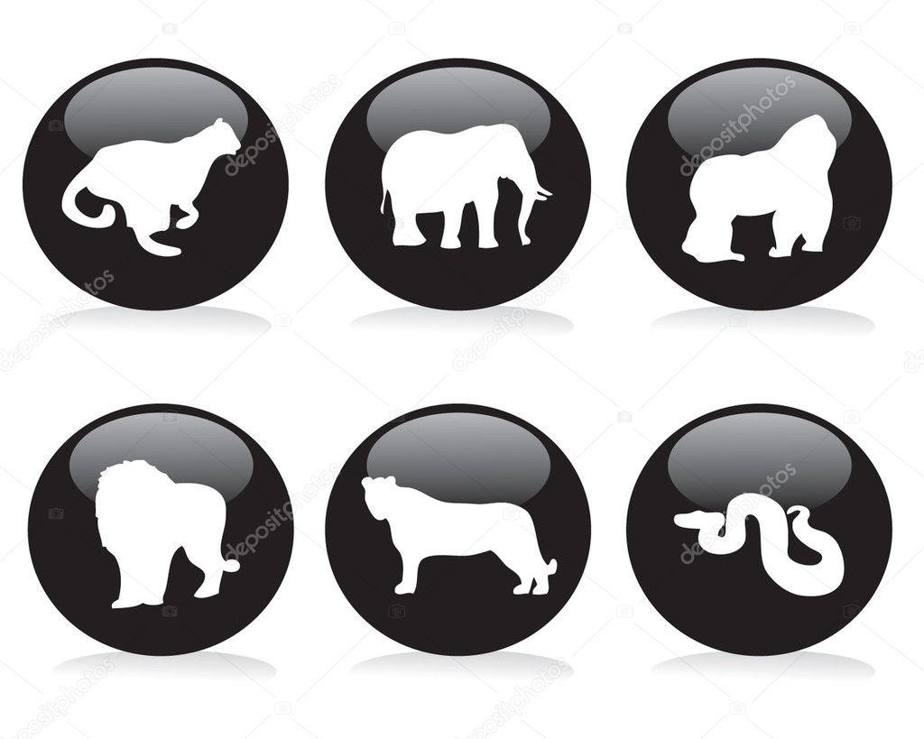 六个野生动物按钮 — 图库矢量图片 #2230721