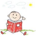 chlapec čtení — Stock vektor