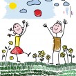 Royalty-Free Stock Imagen vectorial: Doodle children palying