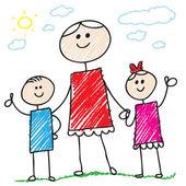 涂鸦的家庭 — 图库矢量图片