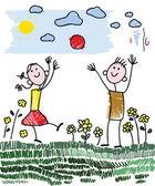 Doodle children palying — Stock Vector