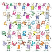 Doodle alfabetet — Stockvektor