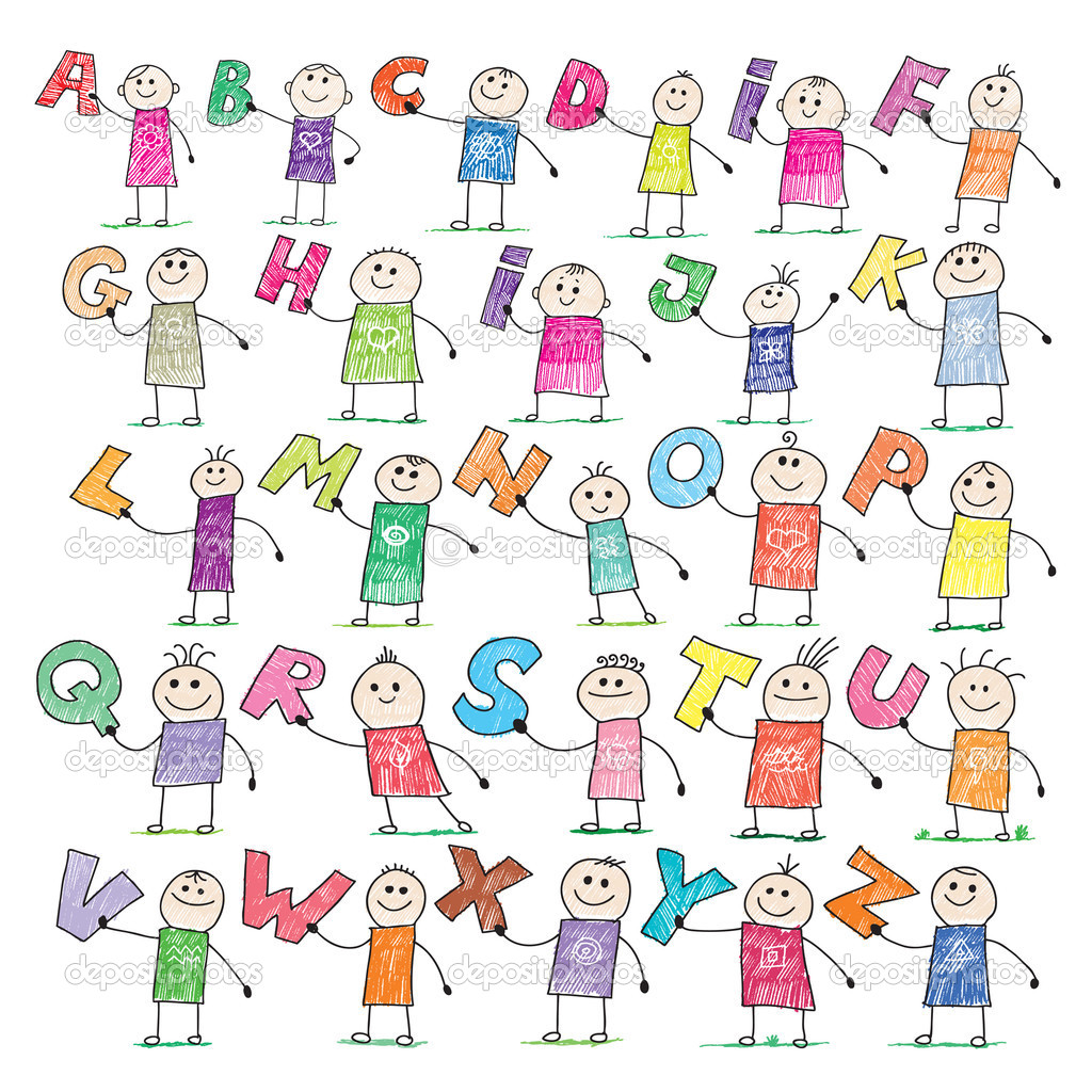 Doodle style illustration of a children holding letters in alphabetical order — Stock Vector #2527406