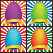 Stock Vector: Four Easter eggs