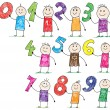 Doodle children holding basic numbers — Imagen vectorial