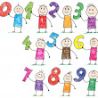 Doodle children holding basic numbers - Stock Vector
