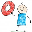 Doodle child holding number zero — Image vectorielle