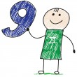 Vector de stock : Doodle child holding number nine