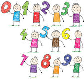 Doodle children holding basic numbers — Vector de stock