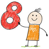 Doodle child holding number eight — Vector de stock