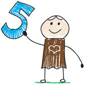 Doodle child holding number five — Stockvector