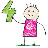 Doodle child holding number four — Stockvector