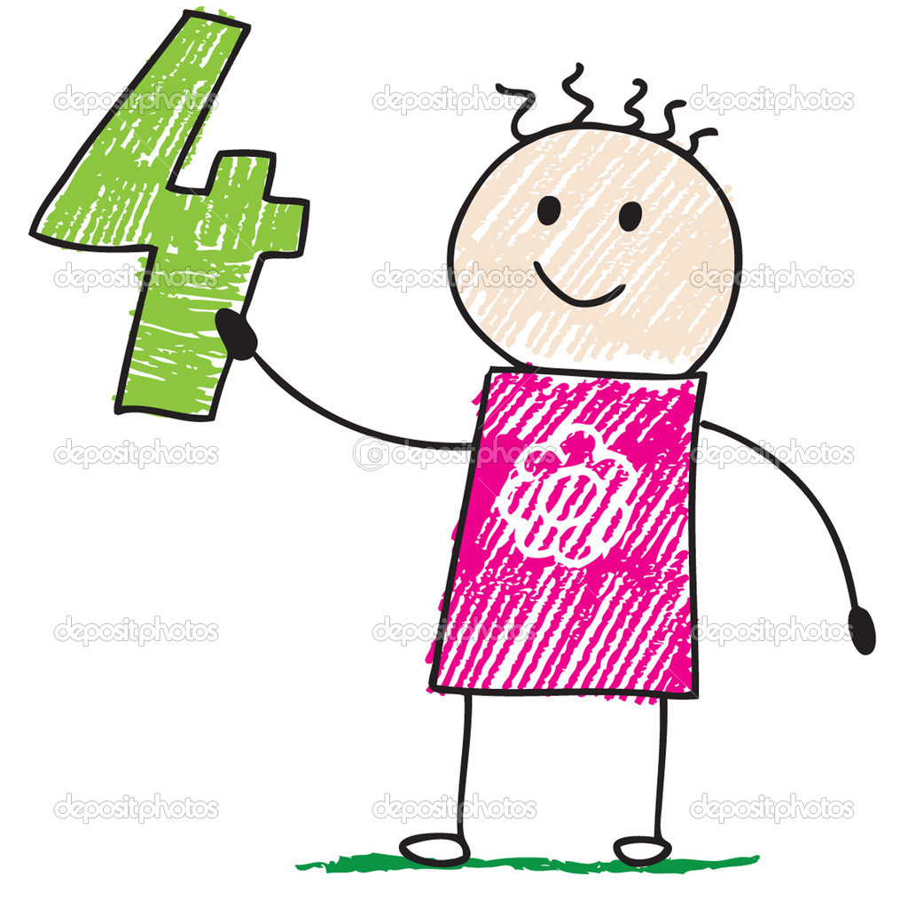 Doodle child holding number four — Stock Vector #2673372