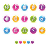 Glossy Circle Icons - Audio — Stock Vector