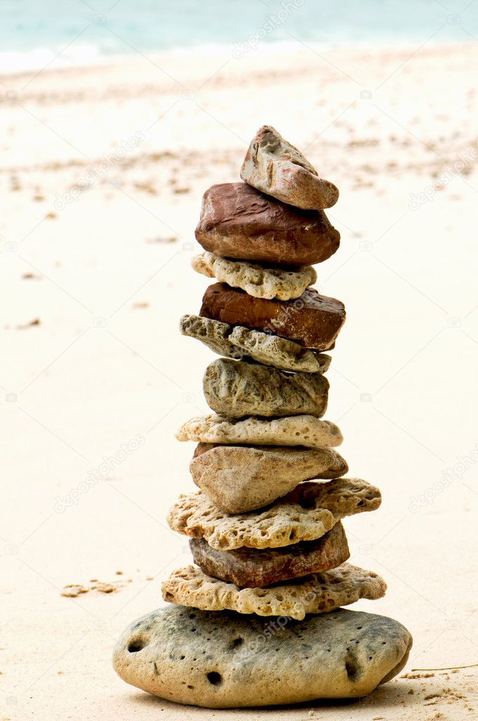 Stones stacked on the beach  Stock Photo #2208125