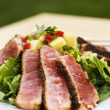 Seared tuna in square plate - Stock Photo