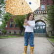 Rainy Day with Giraffe Umbrella — Stock Photo