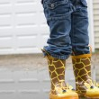 Girl in Cute Galoshes from Waste Down — Stock Photo