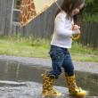 Stock Photo: Girl Splashing in the Rain