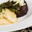 Filet Mignon with Potatoes and Asparagus — Stock Photo