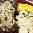 Royalty-Free Stock Photo: T-Bone Steak with Potatoes and Corn