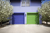 Blue & Green Garage Doors — Stock Photo