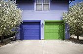 Blue & Green Garage Doors — Stock Photo