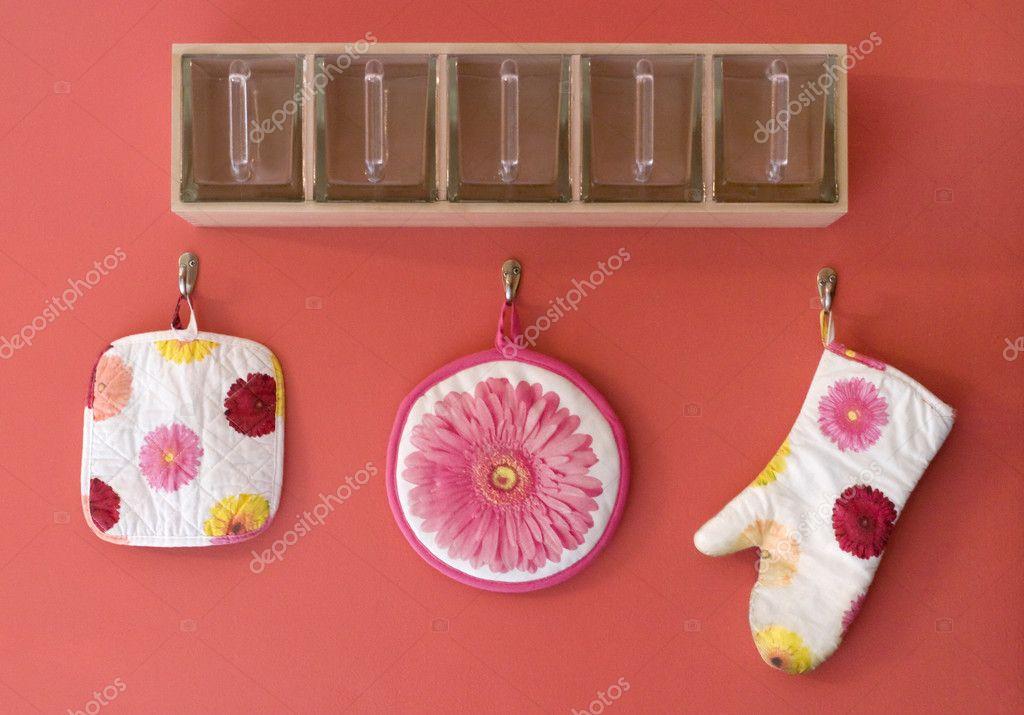 Fun and colorful kitchen decor stock photo Colorful kitchen accessories