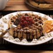 Decadent Waffles with Cherries — Stock Photo