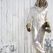 Beekeeper with Crossed Legs — Stock Photo