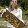 Brave Woman Holding Beehive — Stock Photo #2413890