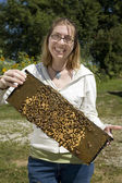 Brave Woman Holding Beehive — Stock Photo