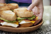 Serving Egg Sandwiches — Stockfoto
