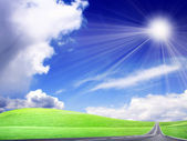Glühen, Sonne und route — Stockfoto