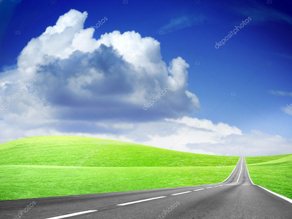 Abstract scene car freeway and green hill — Stock Photo #2227727