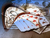Dollars,poker and time — Stock Photo