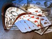 Dolarů, poker a čas — Stock fotografie