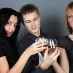 Three friends drinking whiskey — Stock Photo #2198562