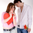 Romantic couple posing in studio — Stock Photo