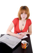 Girl working on laptop — Stock Photo