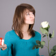Romantic girl with rose — Stock Photo