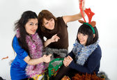 Happy three friends studio shot — Stock Photo