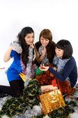 Happy three friends studio shot — Stockfoto