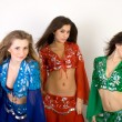 Three girls belly dancing in studio — 图库照片
