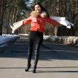 Stock Photo: Happy woman walking outdoor