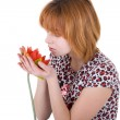 Girl holding a flower — Stock Photo