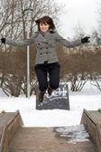 Happy girl walking outdoor — Stock Photo